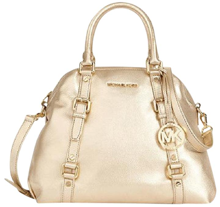 e494d4b9bc64 ... switzerland michael kors bedford bedford bowling satchel tote in pale  gold 97020 2d1b8