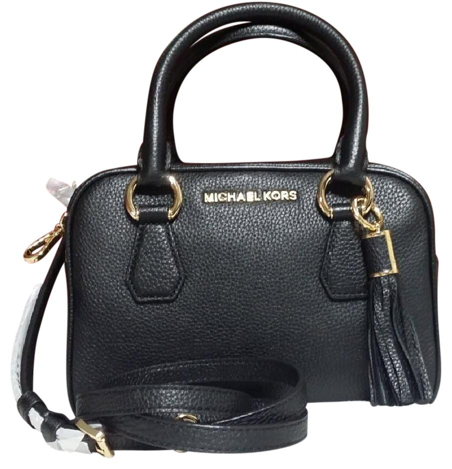 c9404a0c3e56 Michael Kors Black Gold Leather Bedford Tassel Satchel 35t7gbfs1l Cross  Body Bag - Tradesy