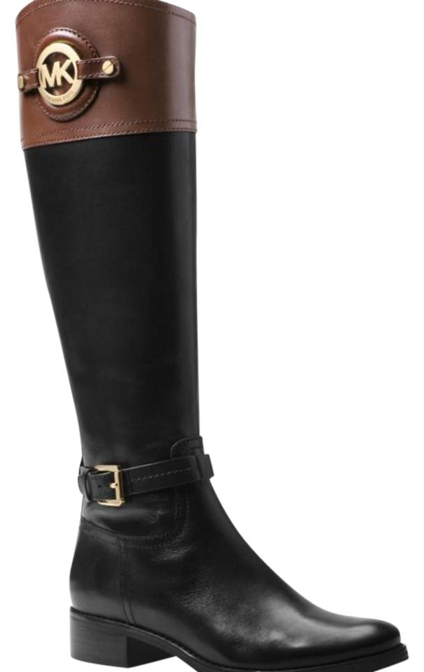 michael kors stockard leather black brown top boots on