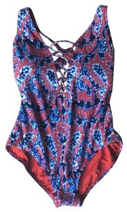 Michael Kors lace up Blue and red pattern swimsuit