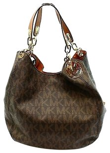Michael Kors Brown Pvc Fulton Shoulder Bag