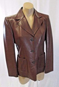 Michael Kors Italy Brown Leather W Two Front Open Brownish Red Jacket