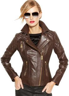 Michael Kors chocolate brown Leather Jacket
