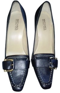 Michael Kors Chunky Heel Front Mk Buckle Leather Black Pumps