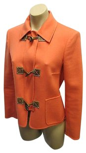 Michael Kors Italy Woolcashmere Wfront Zip Toggle Closure Coral Jacket