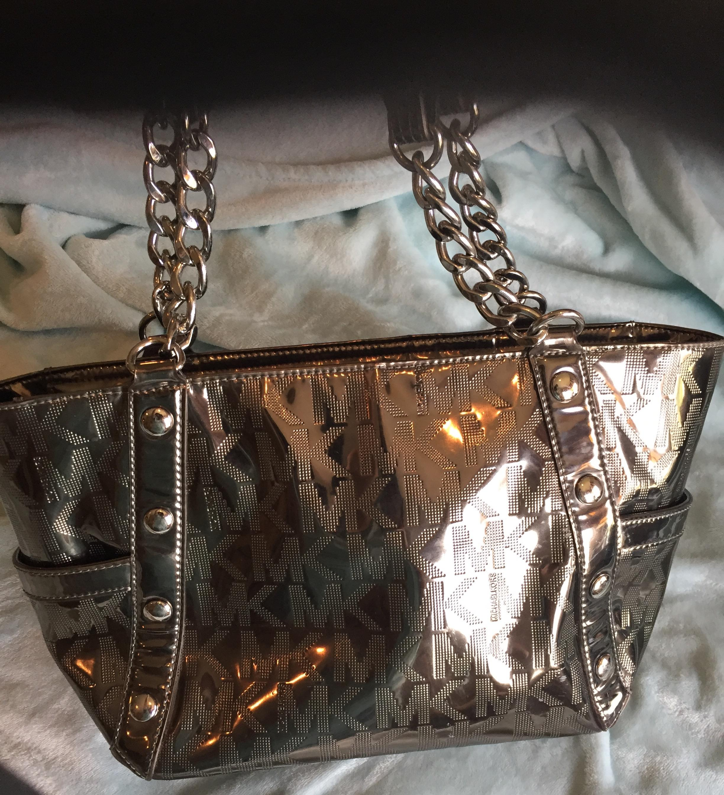 ef9ce1f12b76 ... large michael kors nickel tote 85474 86dc5; france promo code michael  kors mk monogram logo mirror metallic delancy metallic mk and wallet mk
