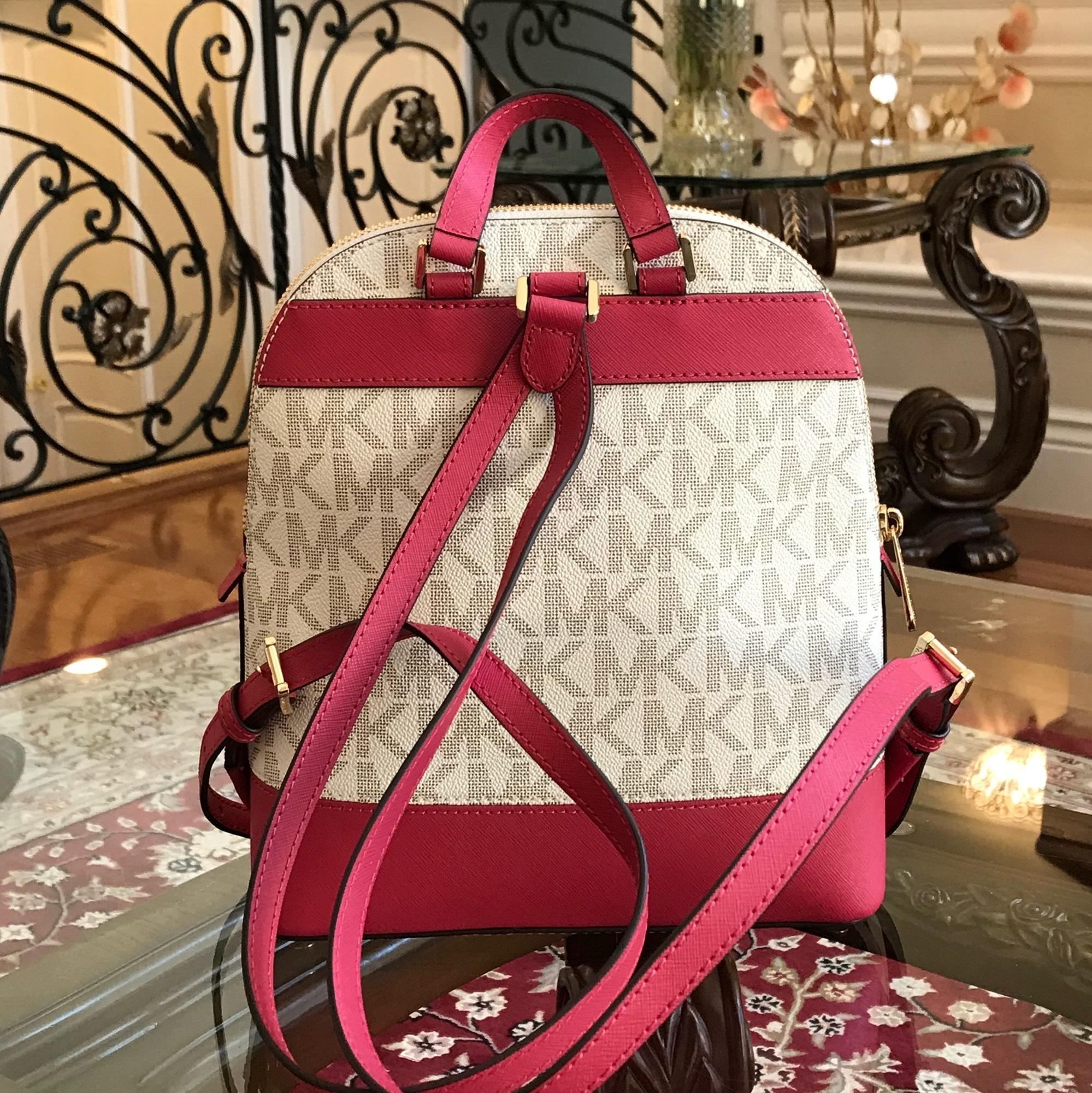 96321fbc630c6 ... discount michael kors emmy small signature mk vanilla pvcleather backpack  tradesy bb8ad df285