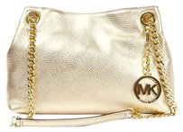 Michael Kors Festival Vintage Leather Pale Gold Messenger Bag
