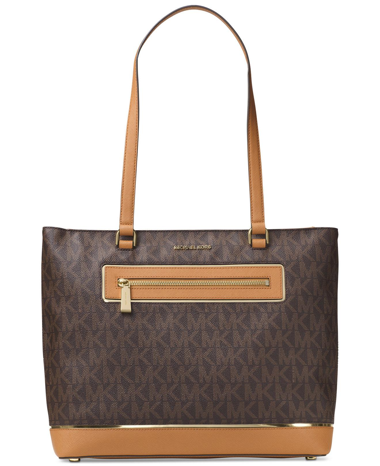 Michael Kors Frame Out Item North South Signature Shoulder Tote in Brown /  Gold
