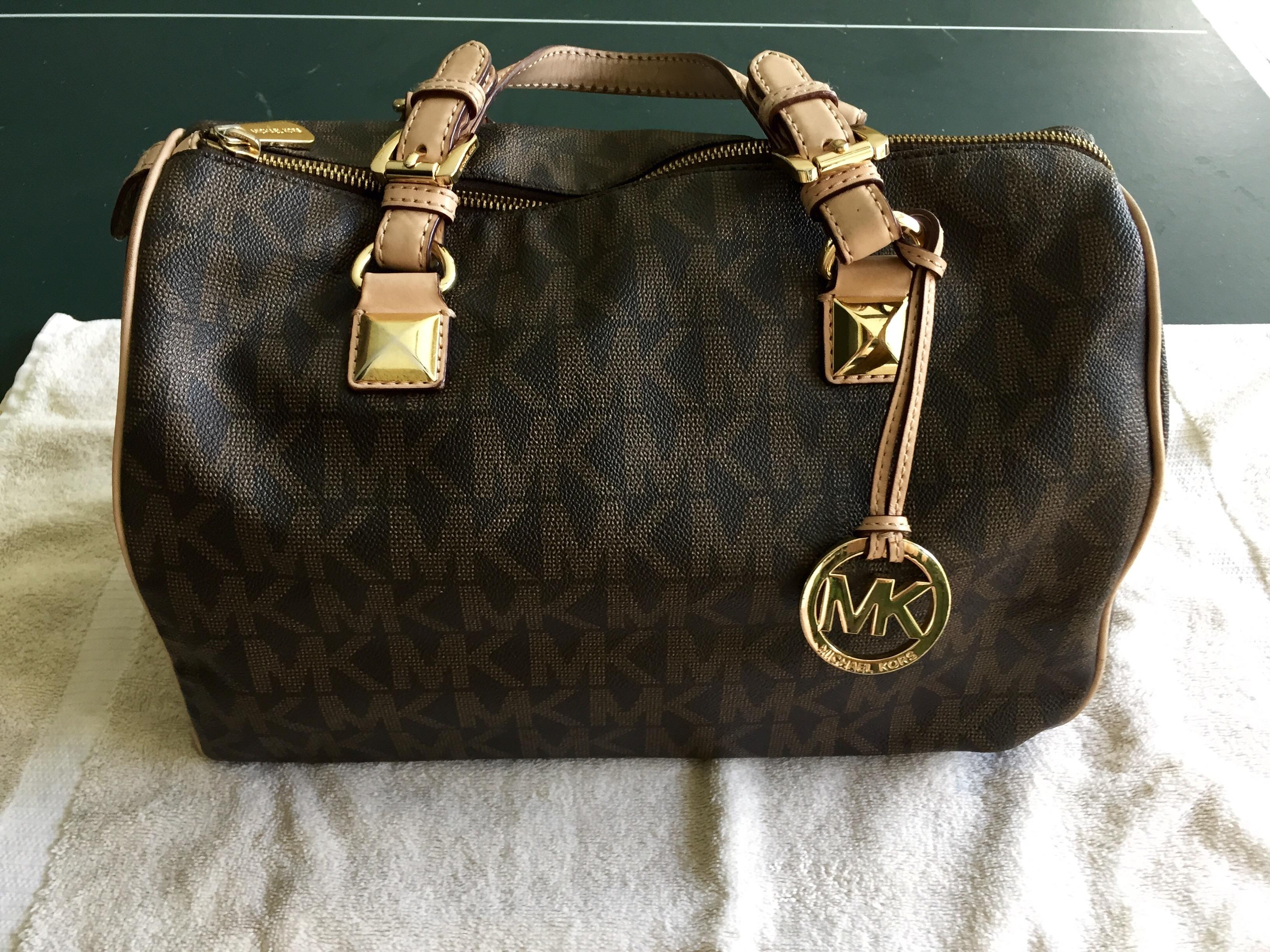 81d0c440342d ... uk michael kors grayson boston 31701 brown monogram satchel tradesy  d89da 8b62e