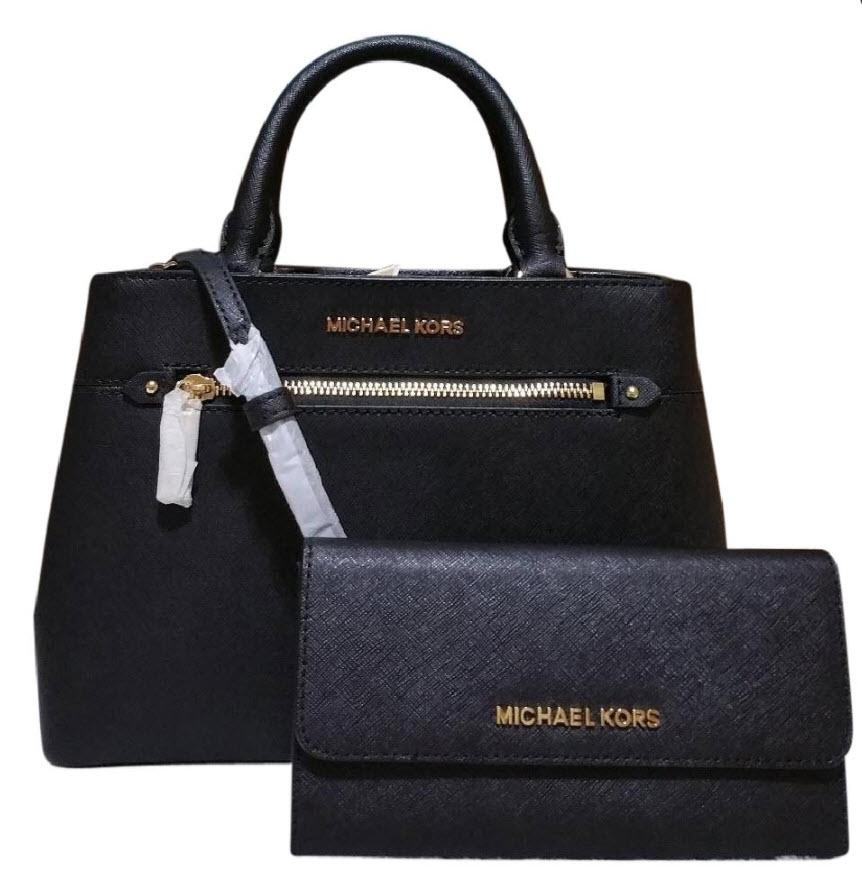 Michael Kors Hailee Bundled with Trifold Wallet Black ...