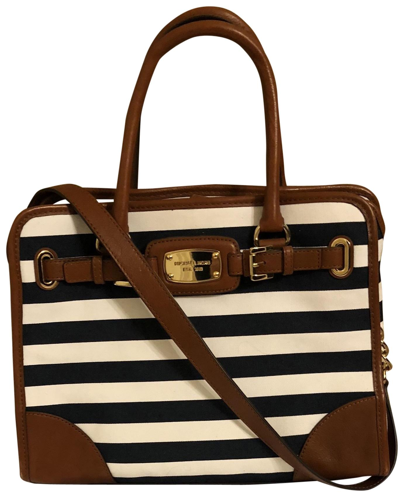 3bf7dbb03a10 coupon michael kors hamilton satchel striped tote in navy blue white  luggage 09275 d8c37