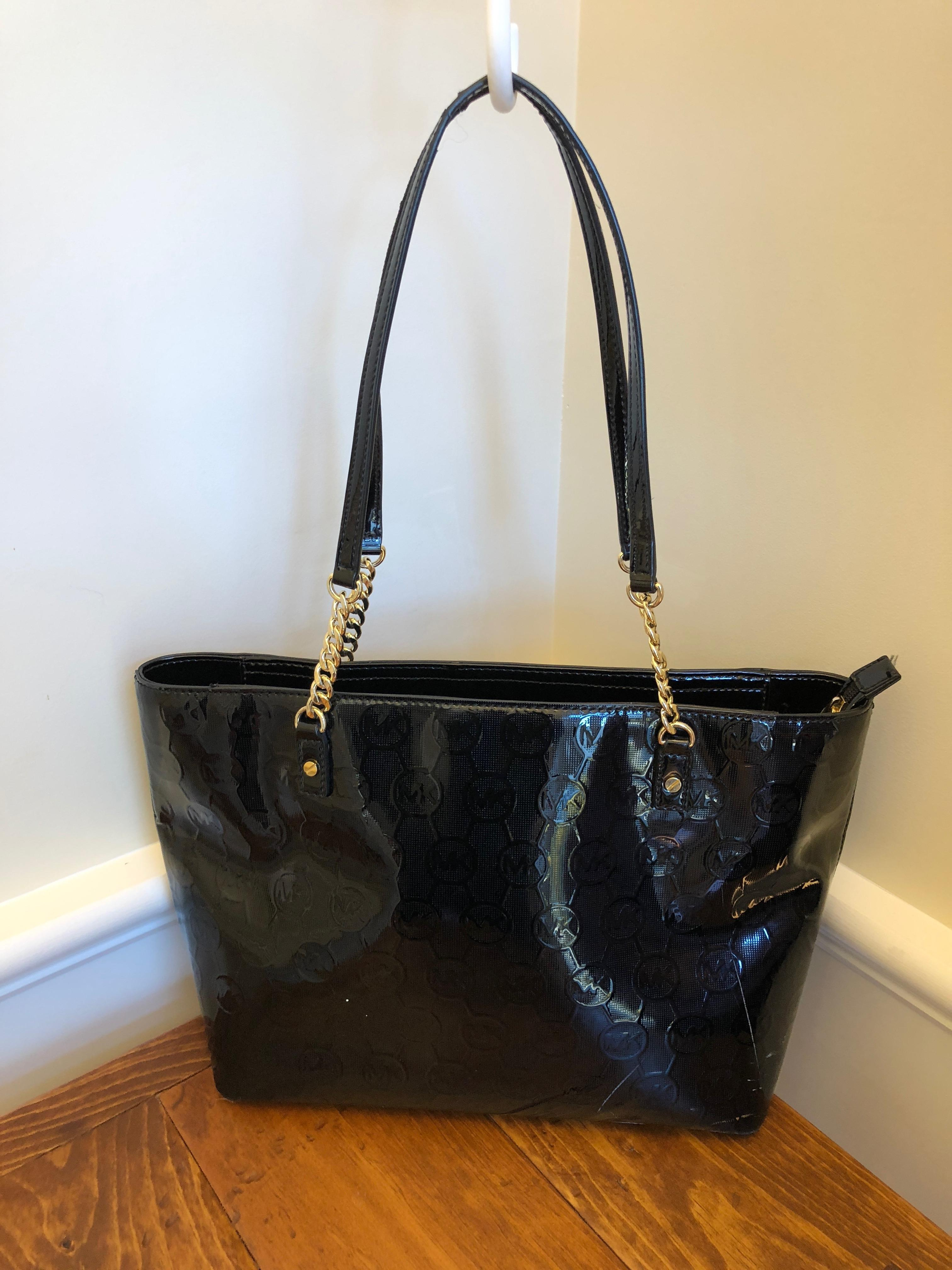 894c74f1967b ... shoulder tote caa4b 6995c; switzerland michael kors jet set chain mk  signature embossed black patent 3a857 88c5c
