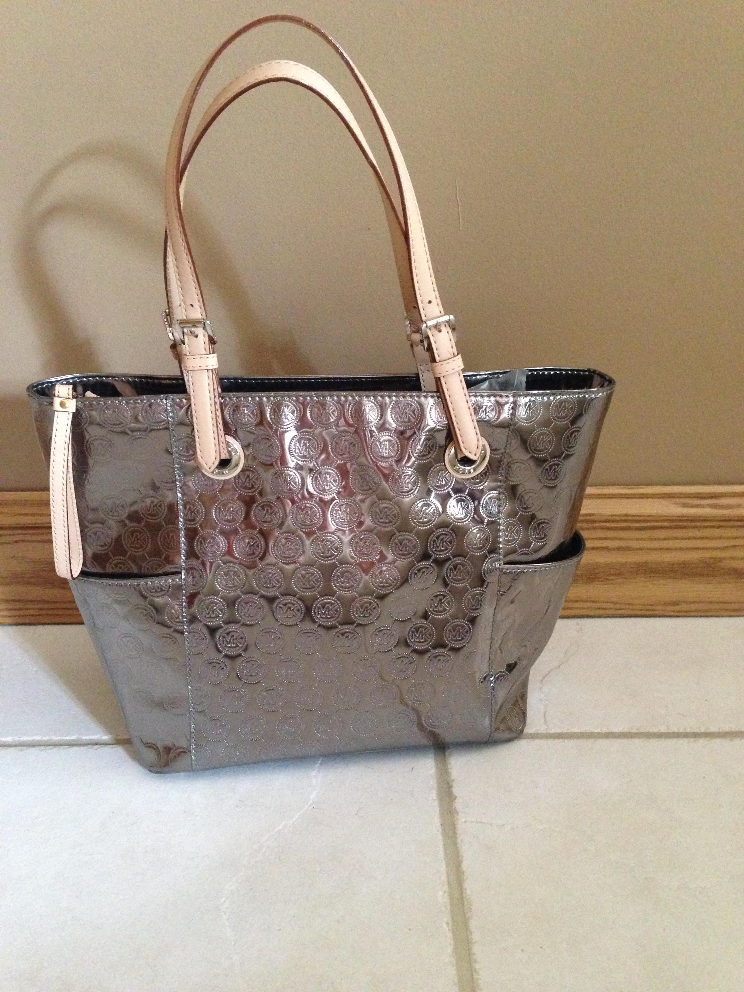 15093332459c ... new style michael kors patent leather mk monogram tote in metallic  nickel. 123 a1c67 1caff