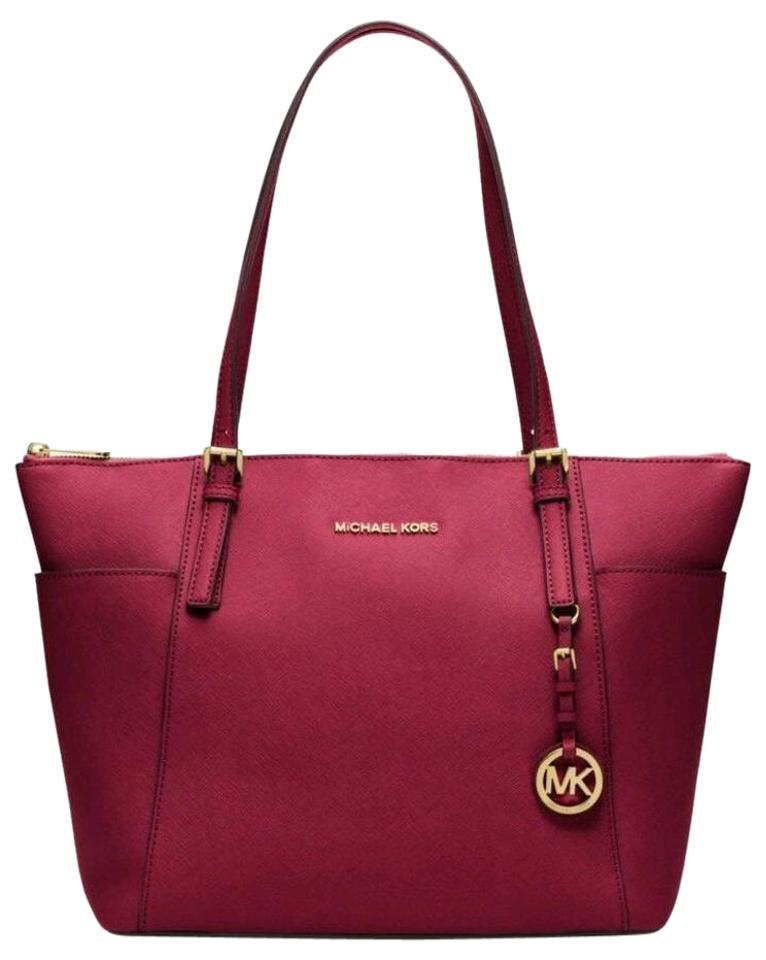 Michael Kors Jet Set Item East West Snap Pocket Jet Set Travel Tote in Cherry