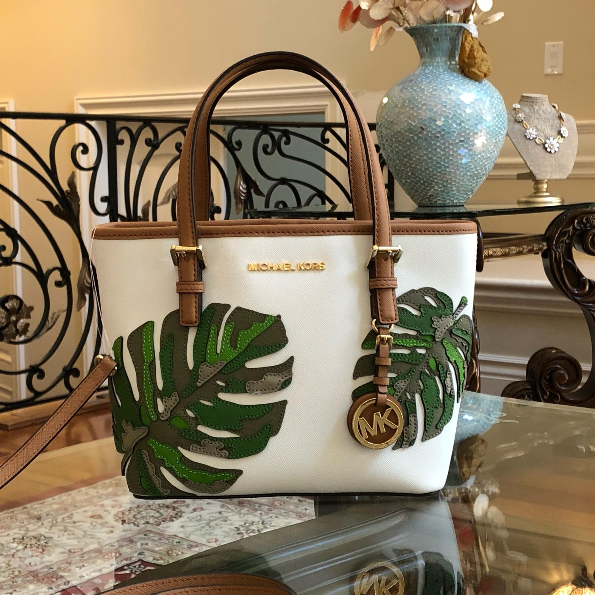 8f21aa174f0a ebay michael kors leaf summer 2pcs leahter floral tote in optic white 85988  c4f06