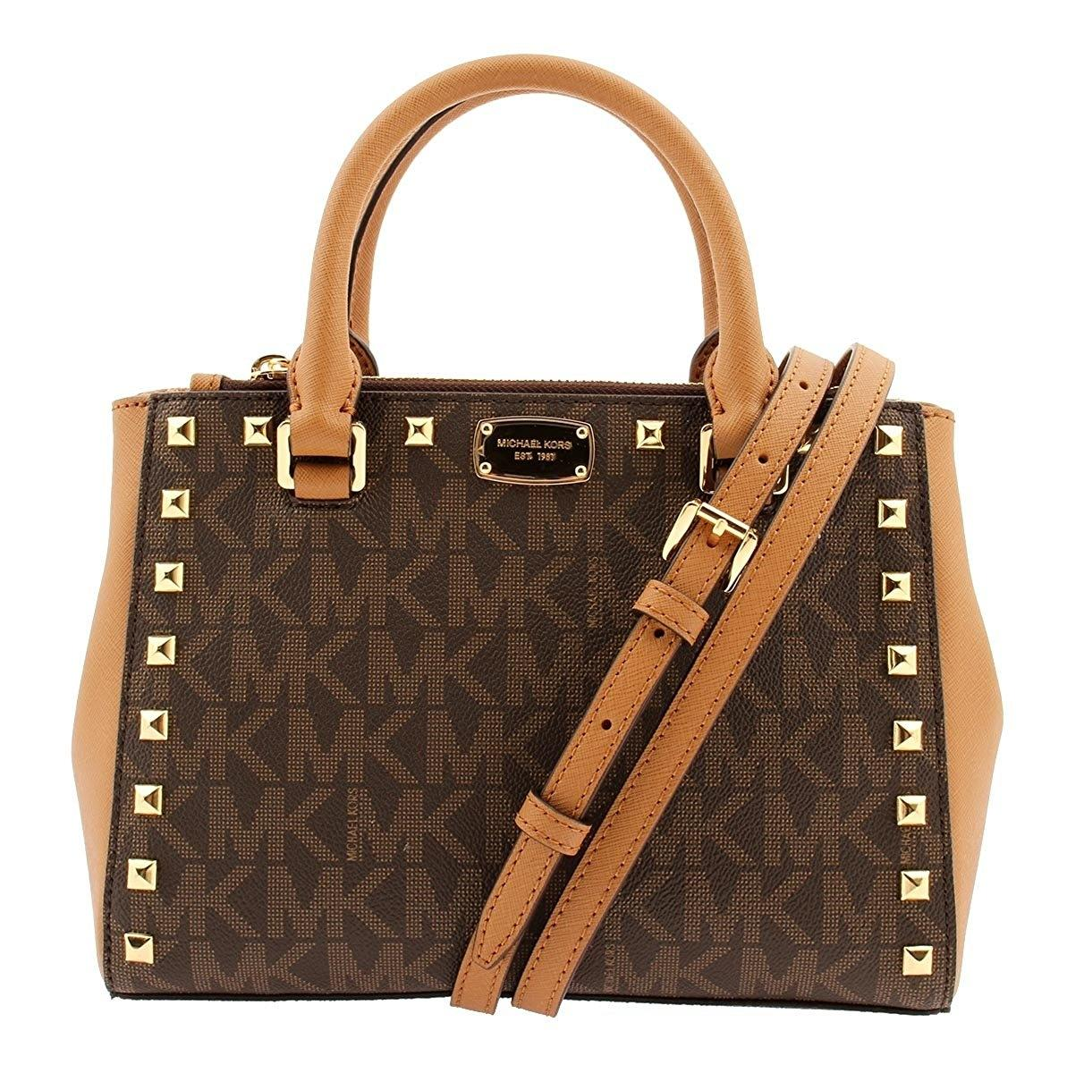 f76e73852470 coupon for michael kors shoulder studded satchel in signature brown acorn  0957e a4129