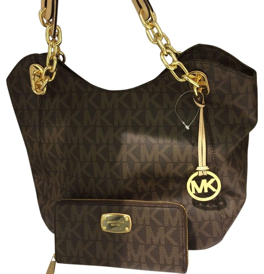f31c61deb0cdd4 ... pvc brown leather 12e70 17c70; france michael kors lilly large zip  around continental signature large matching wallet tote in brown a3c23
