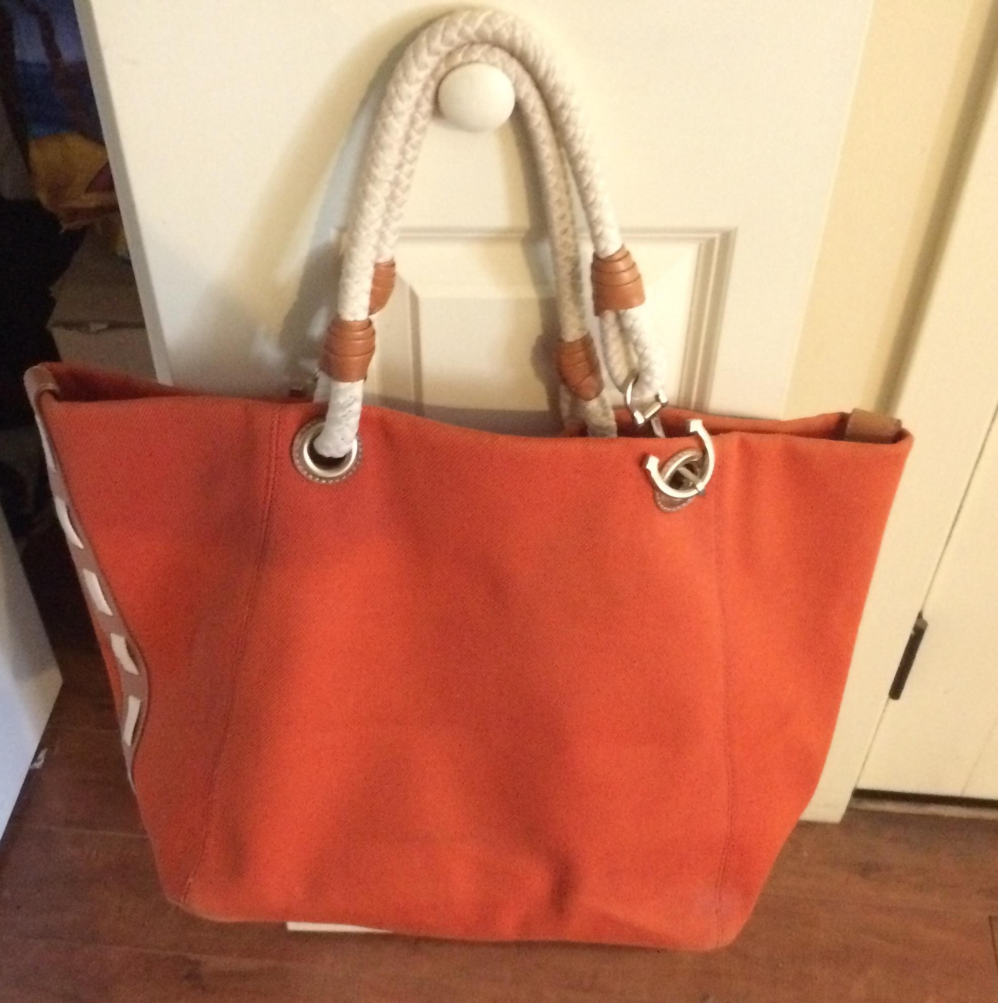 bb70d9efa6c2 ... hot michael kors tangerine orange beach bag. 1234 b7fb5 7bfef