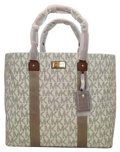 Michael Kors Large Signature Webbing Ew Tote Gold Tone Hardware Mk Name Plate Vanilla Travel Bag