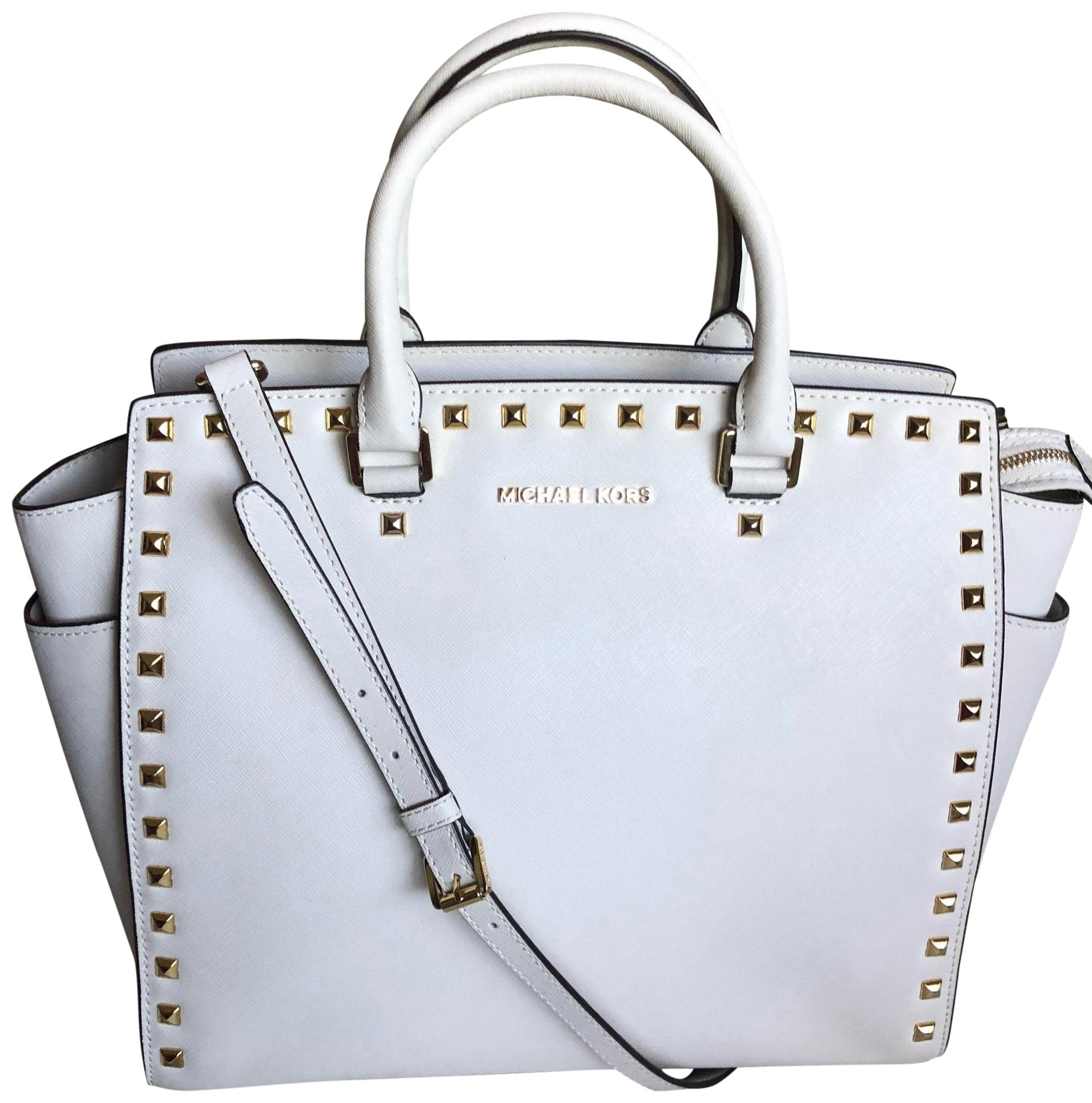 3a34f8309cec ... coupon for michael kors satchel in beige off white 27cb4 257b5