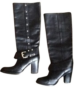 Michael Kors Leather Moto Black Boots