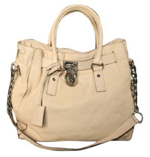 Michael Kors Leather Hamilton Tote in Beige
