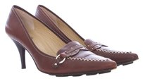 Michael Kors Leather Oxford Pointed Toe Top Stitched Studded Brown Pumps