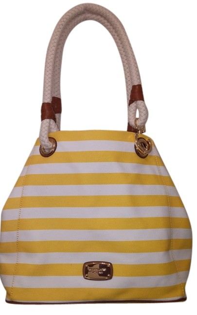 195d1b6b1243 ... sale michael kors canvas large gold accents rope anchor grab marina tote  in yellow white striped