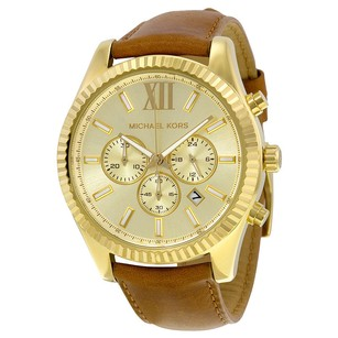 Michael Kors Michael Kors Gold Dial Chronograph Leather Watch