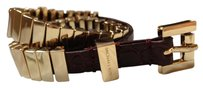 Michael Kors Michael Kors Gold-Tone Link and Chocolate Leather Belt Bracelet