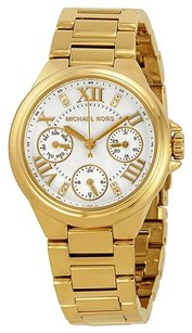 Michael Kors MICHAEL KORS Mini White Dial Gold-Tone Stainless Steel Ladies Watch