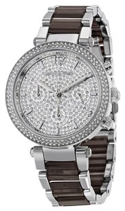 Michael Kors MK6284 PARKER PAVE CRYSTAL DIAL SILVER CHRONOGRAPH WATCH