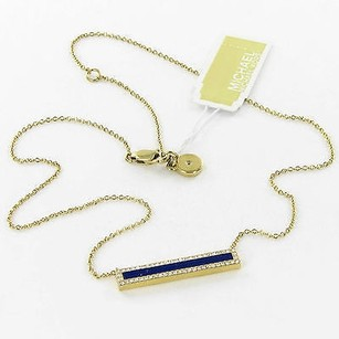 Michael Kors Michael Kors Necklace Semi-precious Lapis Bar Pave Gold-tone