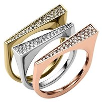 Michael Kors with BONUS Stackable LAST SET in size 7 Tri-Tone Rings (Set of 3)