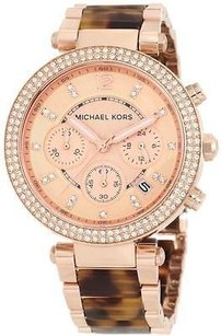 Michael Kors Michael Kors Tortoise Rose Gold-tone Chronograph Ladies Watch Mk5538