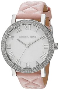 Michael Kors Michael Kors Women's MK2617 'Norie' Quilted Crystal Pink Leather Watch