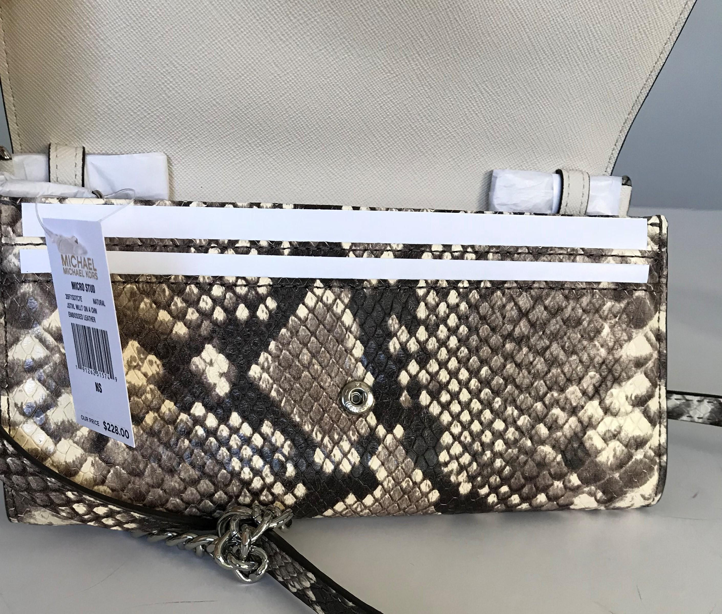 7c98d941a07106 ... ireland michael kors micro stud wallet on chain snake embossed natural  leather cross body bag tradesy ...