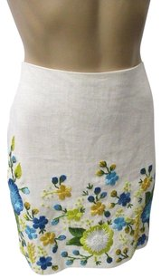Michael Kors Collection Linen W Embroidered Flowers Mini Skirt White, blue, green and yellow