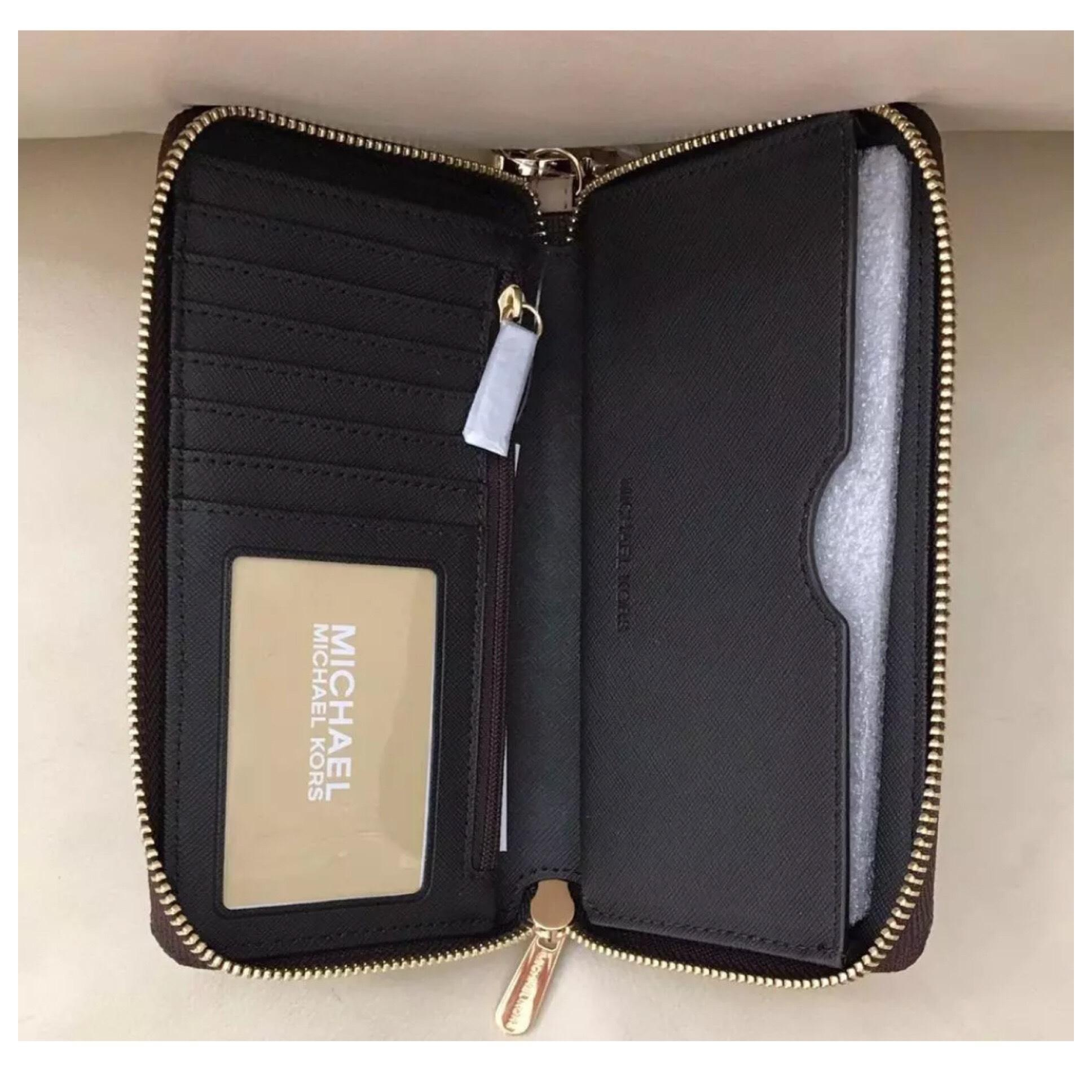 affde944a9c92c ... discount code for michael kors mk grayson medium chain multifunction  wallet brown f02f1 7d833