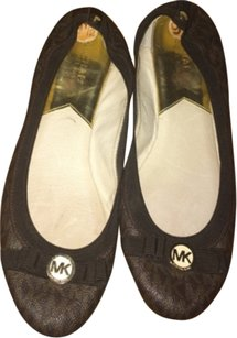 Michael Kors MK monogram flats. Brown with MK in light brown. Gold accen Flats
