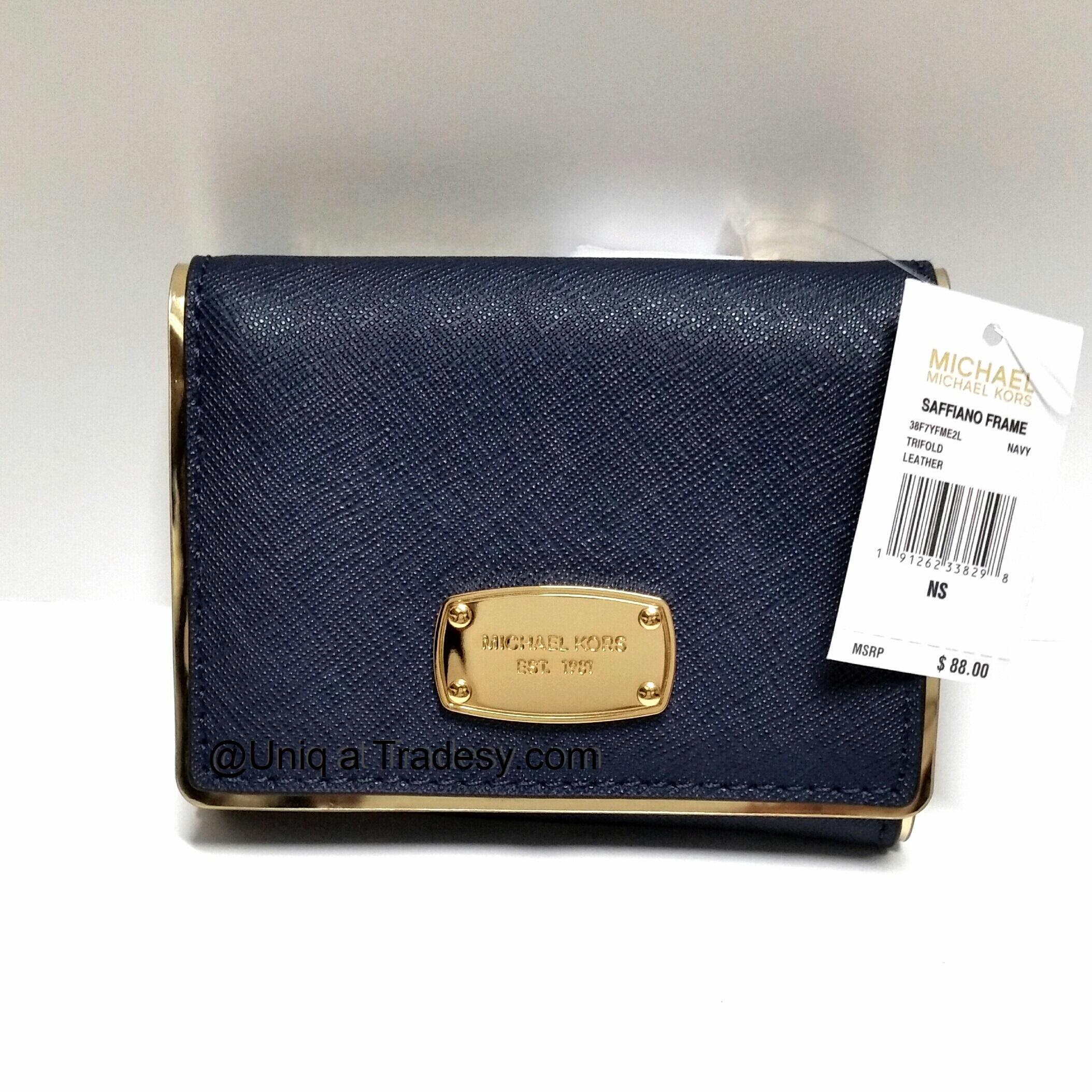4cb328ad5bfb ... wallet signature mk navy 614d3 febcf; clearance michael kors navy blue  leather gold tone hardware mk saffiano frame tri fold billfold coin