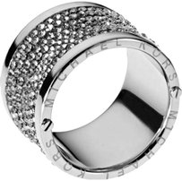 Michael Kors NWT! Michael Kors Silver Crystal Stone Pave Thick Barrel Ring Gunmetal Paave Size 8