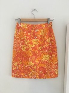 Michael Kors Printed Pencil Office Chic Skirt Orange