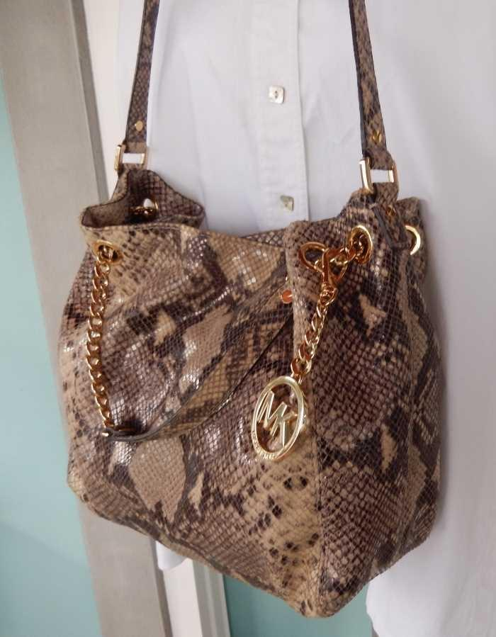 ebc7e5108f71 ... wholesale michael kors python jet set medium shoulder crossbody or tote  sand 9cb76 2e771
