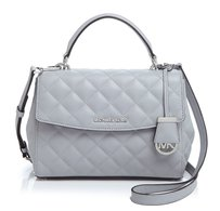 Michael Kors Quilted Leather Grey Silver Hardware Small Ava New With Tags Satchel in Dove Grey