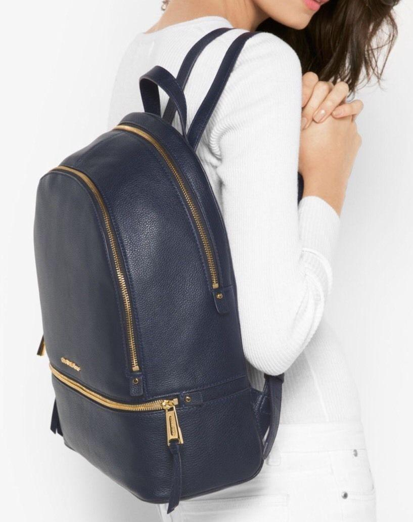 2e68177fe0c09 ... backpack 3dede fdfda  order michael kors rhea large top zip school  travel new with tags navy blue gold hardware