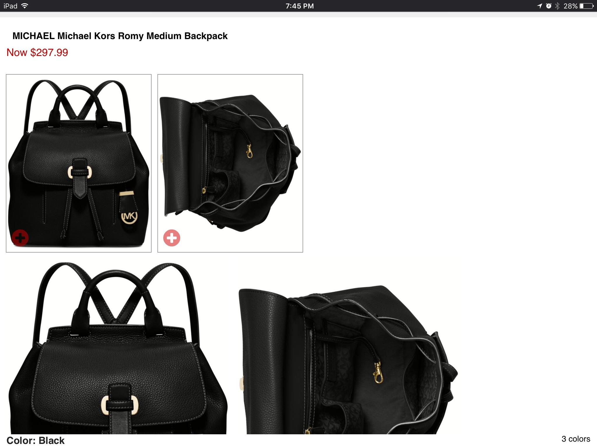 6f6339284ef0 ... ireland michael kors romy medium size black leather backpack tradesy  4b1a9 db510
