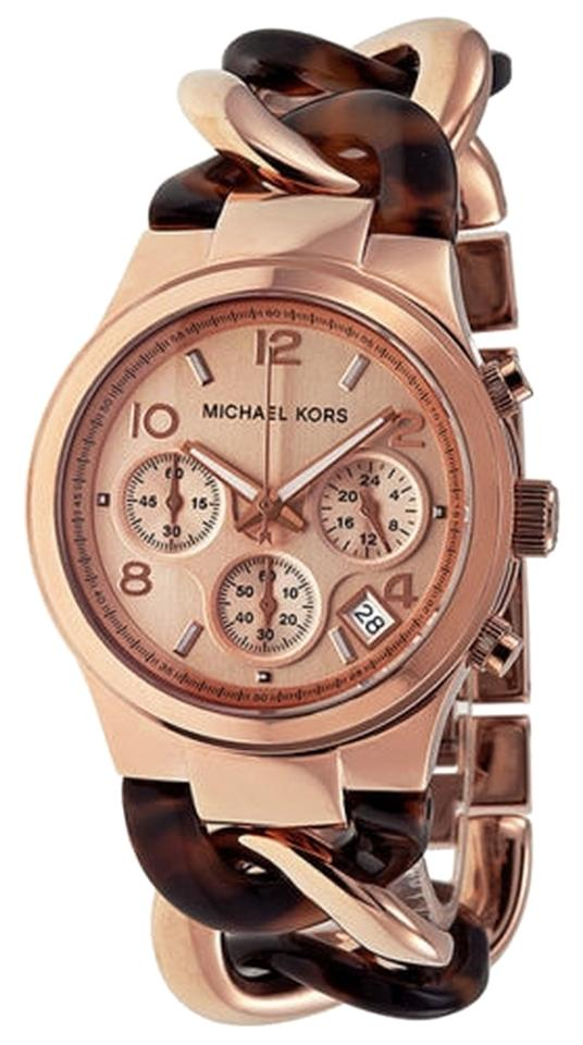 michael kors designer watches neqq  Michael Kors Rose God and Tortoise Shell Chain Twist Bracelet Designer Watch