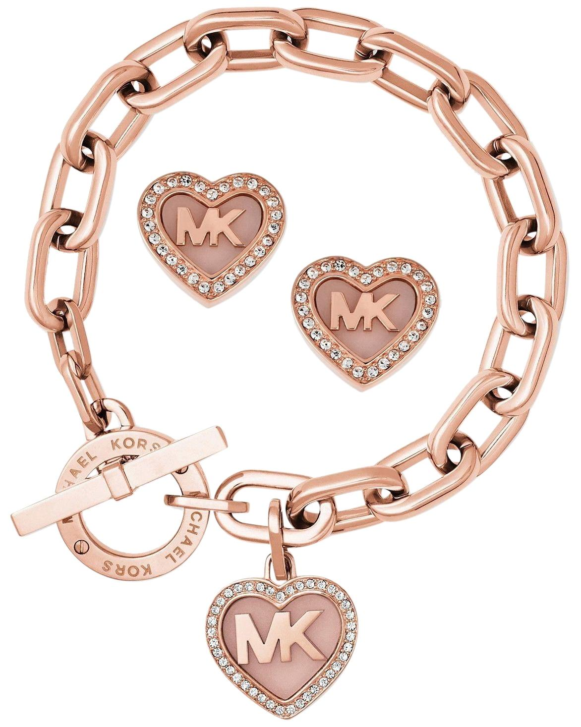 Michael Kors Rose Goldtone Set Logo Heart Earrings Bracelet Tradesy